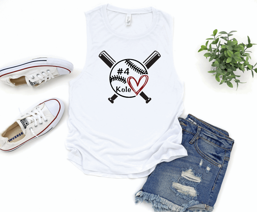 Baseball / T-Ball Mom Cross Bats Personalized Name & Number Womens Muscle Tank