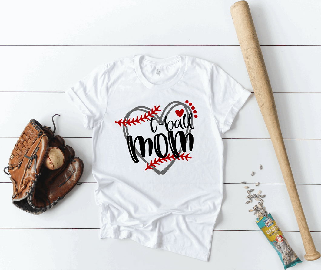 T-Ball Mom Heart Game Day Shirt