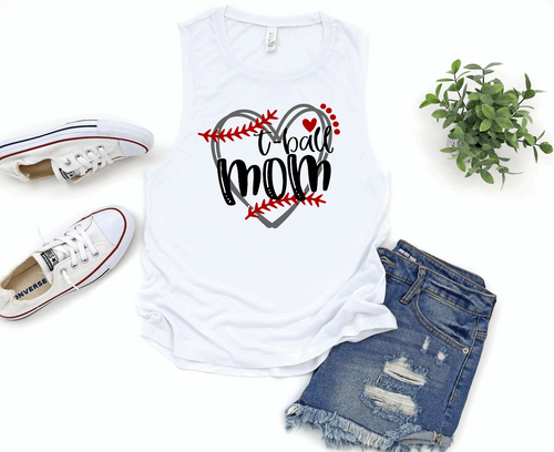 T-Ball Mom Heart Womens Muscle Tank