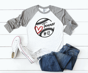 Baseball Mom Personalized Name/Number Sports Raglan Shirt