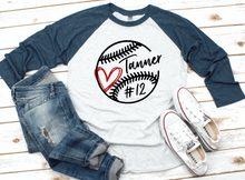 Load image into Gallery viewer, Baseball Mom Personalized Name/Number Sports Raglan Shirt