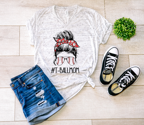 T-Ball Mom Messy Bun Shirt & Tank