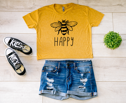 Bee Happy Crop Top T-shirt