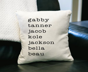 Children or Grandchildren Family names Pillow