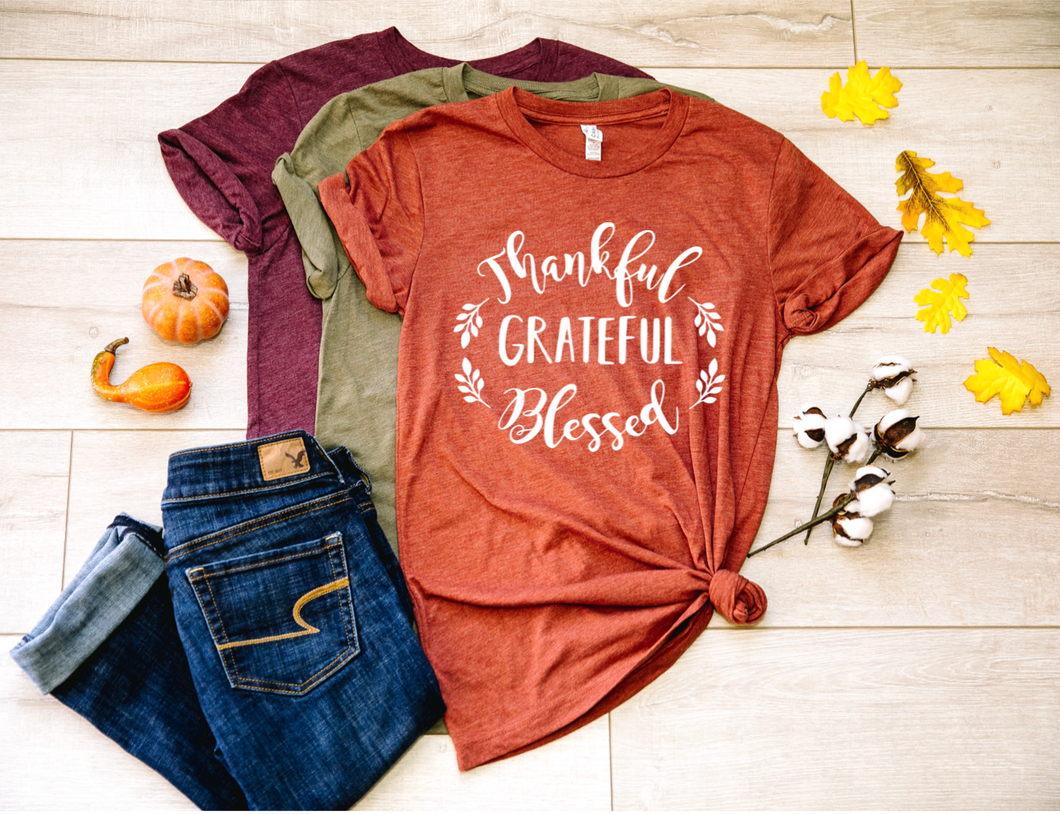 Thankful Grateful Blessed Fall Shirt