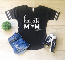 Load image into Gallery viewer, Karate Mom Personalized Striped Sleeve Shirt