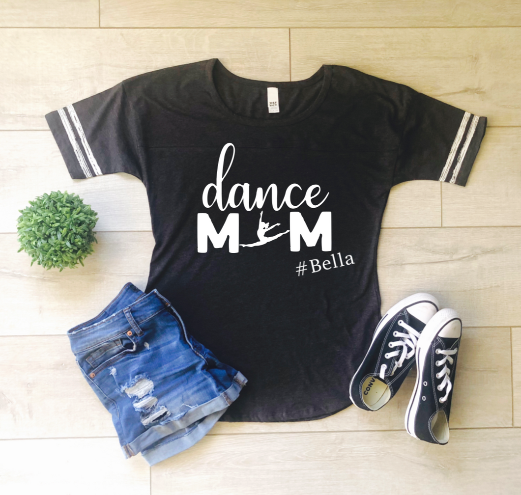 Dance Mom Personalized Striped Sleeve Shirt