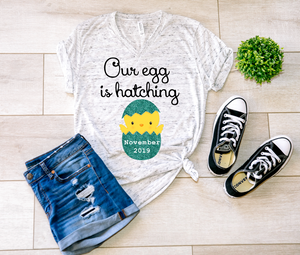 Our egg is Hatching Easter Personalized Pregnancy Shirt