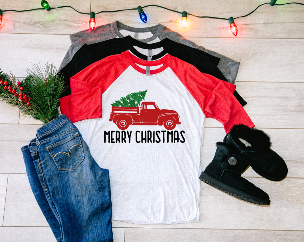 Merry Christmas Red Truck Raglan Shirt