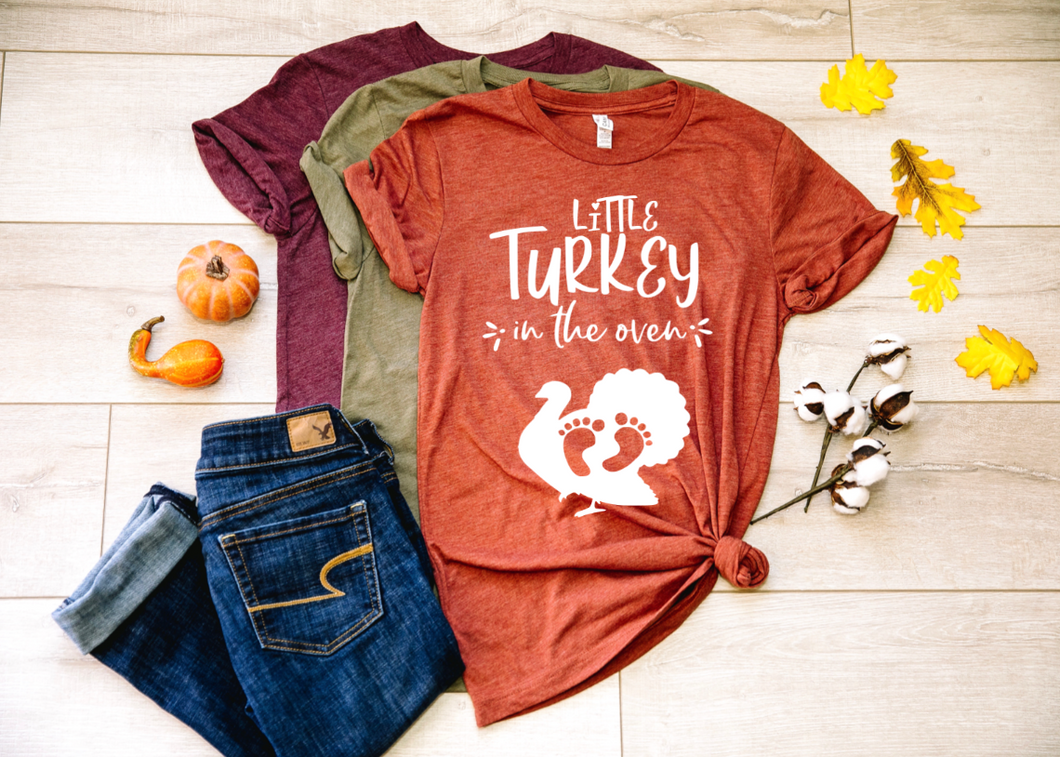 Little Turkey in the Oven Fall Pregnancy Shirt