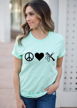 Load image into Gallery viewer, Peace Love Hairdresser / Salon Shirt