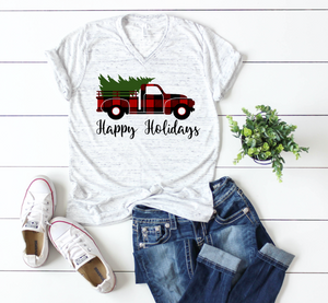 Happy Holidays Buffalo Red Truck Christmas Shirt