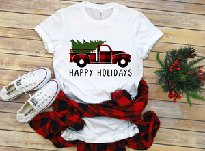 Happy Holidays Red Buffalo Truck Christmas Shirt