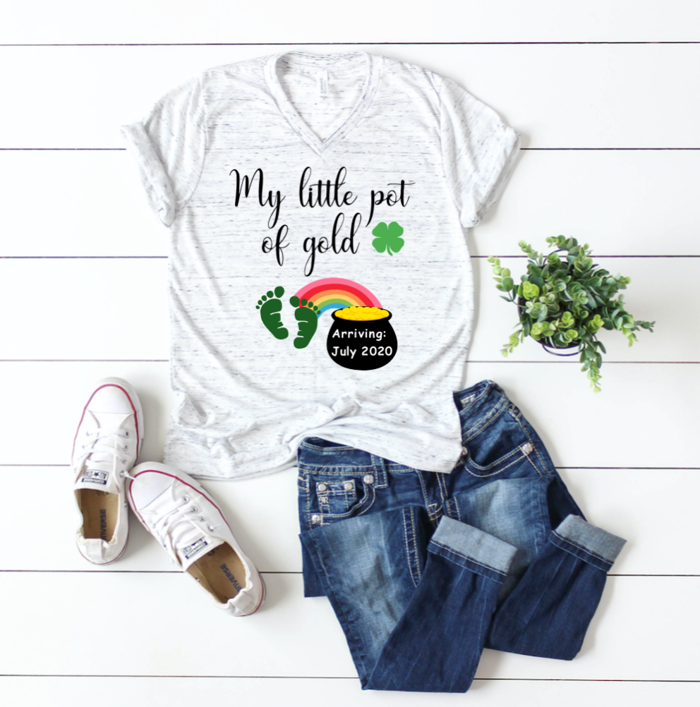 My little Pot of Gold St. Patricks Personalized Pregnancy Shirt
