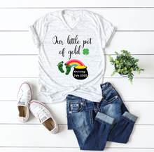 Load image into Gallery viewer, Our little Pot of Gold St. Patricks Personalized Pregnancy Shirt