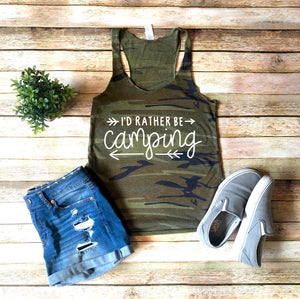 I'd rather be Camping Camouflage Shirt