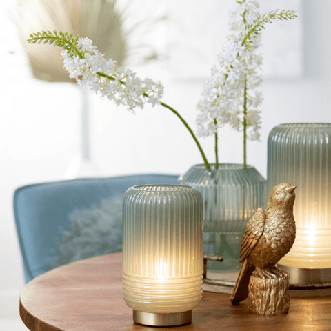 battery operated table lamps on a dining table