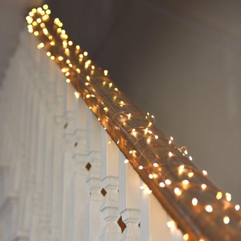 Copper wire fairy lights used as staircase fairy lights