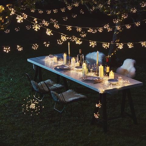 String of lights outdoor over a table
