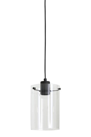 Black pendant light with glass shade