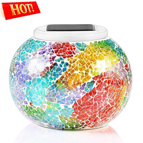 Image of Color Changing Solar Powered Glass Ball LED Garden Light