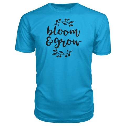 Bloom And Grow Premium Tee - Carribean Blue / S - Short Sleeves