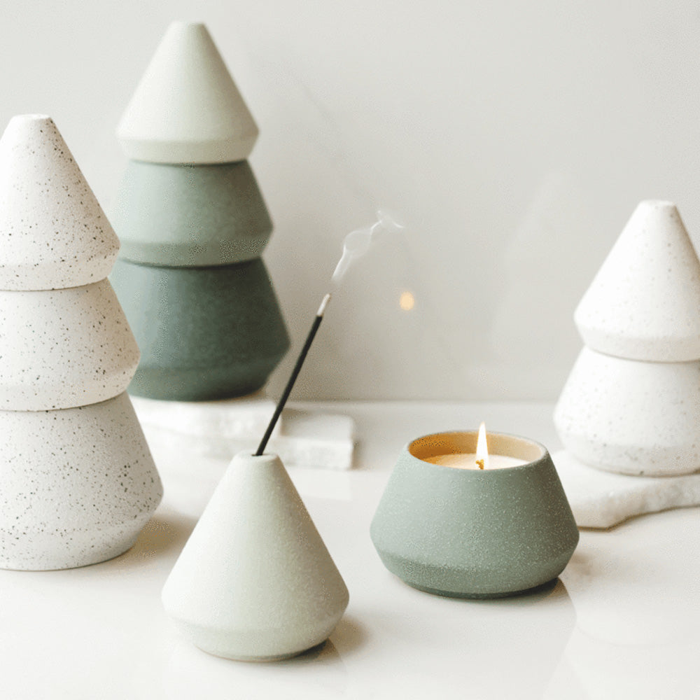 Cypress and Fir Stacking Tree Ceramic Candle