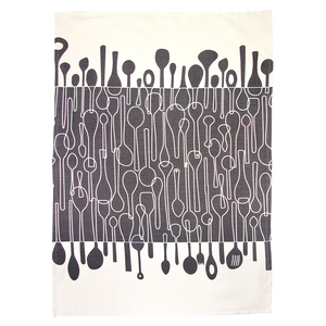 Teatowel Borrowed Spoons Graphite by Skinny La Minx