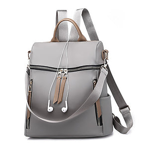 Women's Bags Canvas / PU(Polyurethane) Backpack Zipper Black / Gray