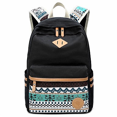 Bags Canvas Backpack Pattern / Print Blue / Black / Blushing Pink