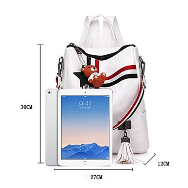 Women's Bags PU(Polyurethane) Backpack Sashes / Ribbons White / Black