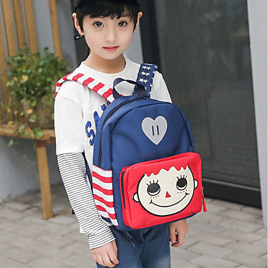 Unisex Bags Nylon School Bag Zipper Blue / Red / Fuchsia