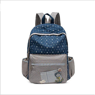 Bags Canvas School Bag Zipper Blue