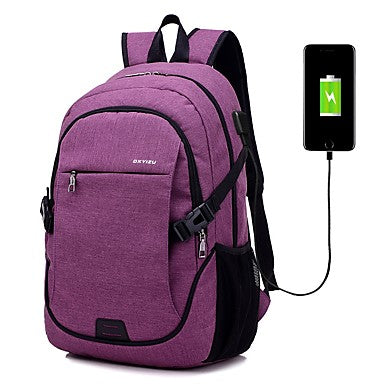 Unisex Bags Canvas School Bag Zipper Black / Gray / Purple