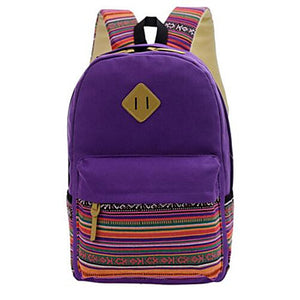 Bags Canvas School Bag Zipper Purple / Fuchsia / Khaki