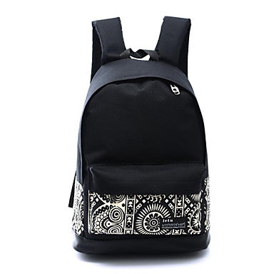 Women's Bags Canvas School Bag Zipper Black