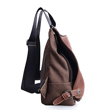 Women's Bags Canvas Backpack Buttons Coffee / Dark Brown
