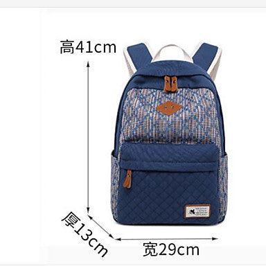 Bags Canvas School Bag Pattern / Print Dark Blue / Red / Khaki