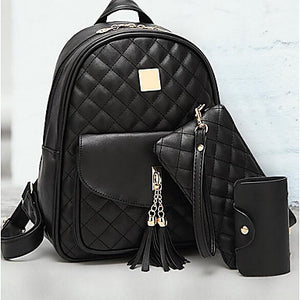 Women's Bags PU(Polyurethane) Backpack Zipper Black