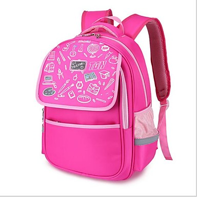 Unisex Bags Polyester School Bag Zipper Black / Fuchsia