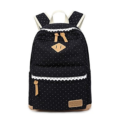Women's Bags Canvas Backpack Pattern / Print Blue / Black / Blushing Pink