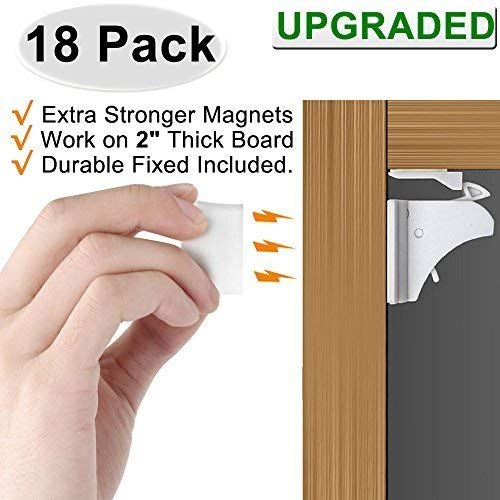 Magnetic Cabinet Locks Baby Proofing - VMAISI 18 Pack Children Proof Cupboard Drawers Latches - Adhesive Easy Installation