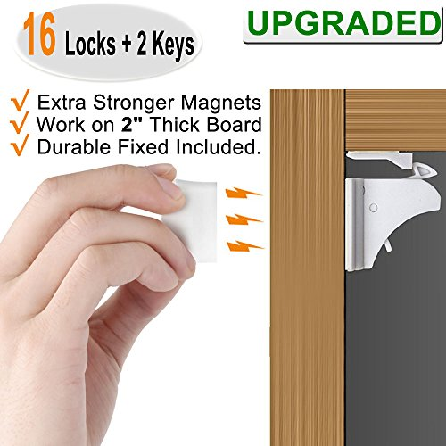 6e2e7c1d3477 Magnetic Child Safety Cabinet Locks - 16 Pack Baby Proofing Drawer Locks