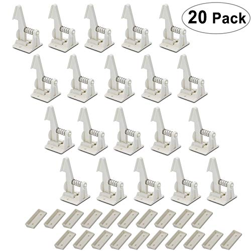 Cabinet Locks Child Safety Latches - 20 Pack VMAISI Baby Proofing Cabinets & Drawers Lock - Upgraded Stronger Adhesive Easy Installation - No Drilling