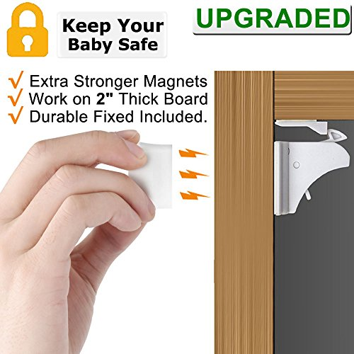 Baby Proofing Magnetic Cabinet Locks - 4 Locks + 1 key