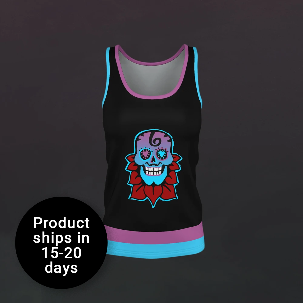 Nea Skull Flower Tank Top - Womens