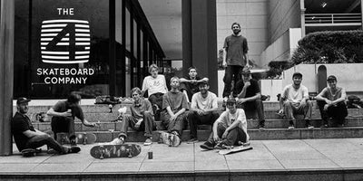 the 4 skateboard company team riders Casey Foley, Harry Clark, Morgan Campbell, Mike Martin, Louie Dodd, Rowan White, Chris Luu, Tom Bentley, Eugene Stewart