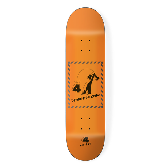 the 4 skateboard company demolition crew skateboard deck orange, designed by louie dodd