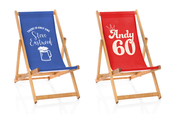 blue and red deckchairs with extra special message