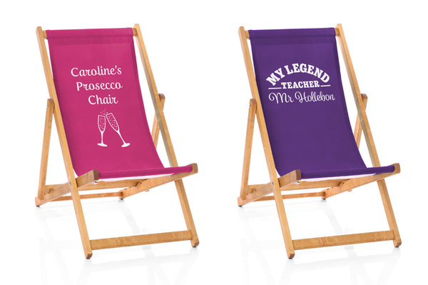 pink and purple deckchairs with extra special message